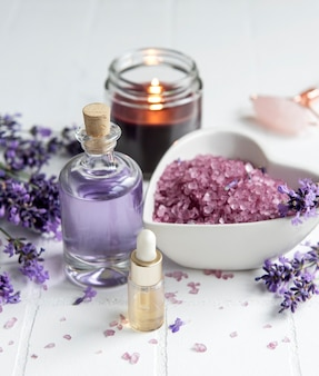 Lavender spa essential oils sea salt  towels and candle