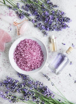 Lavender spa. essential oils, sea salt,  towels and handmade soap. natural herb cosmetic with lavender flowers