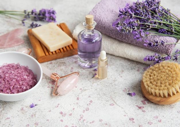 Lavender spa essential oils sea salt  towels and handmade soap