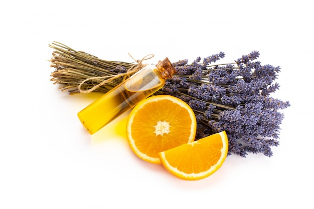Lavender spa products with dried lavender flowers on a isolated.