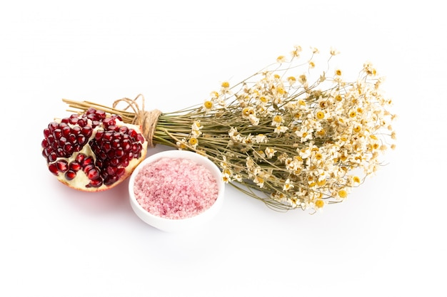 Lavender spa products with pomegranate, lavender flowers on a isolated background.
