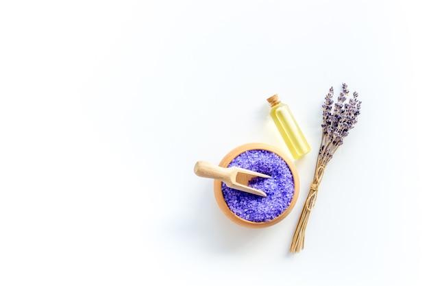 Lavender spa set. violet bath salt and essence oil