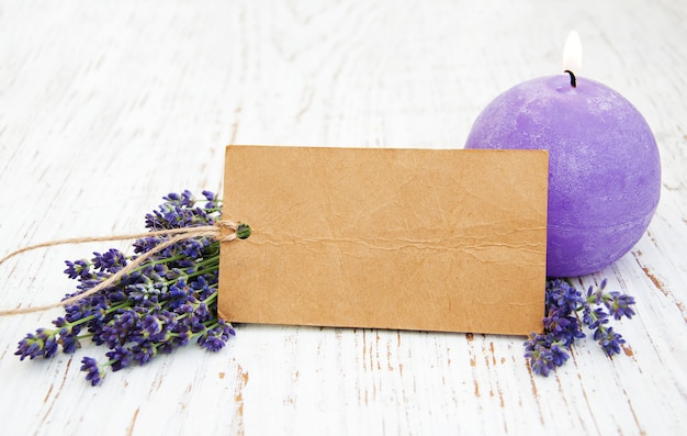 Lavender with candle and tag