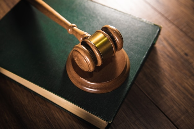 Law concept, judge with book on table