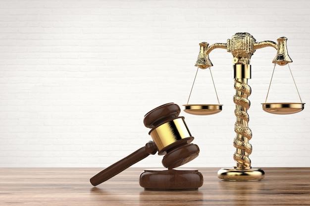 3dレンダリングガベル裁判官と黄金の法則スケールを備えた法の概念