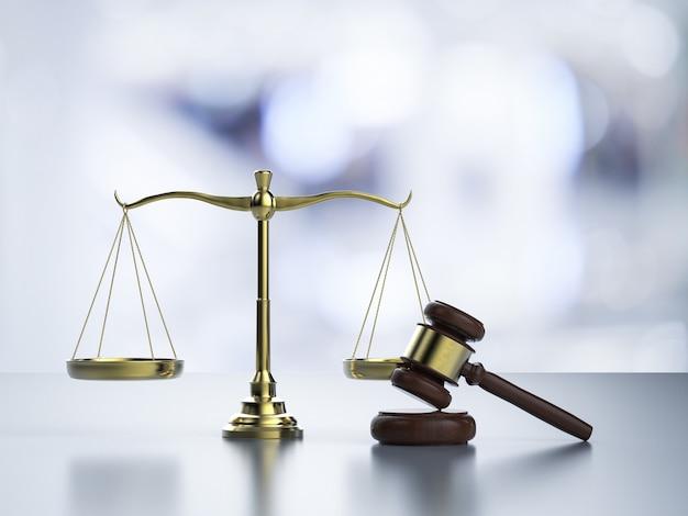 黄金の法則スケールとガベル裁判官をレンダリングする3dによる法の概念