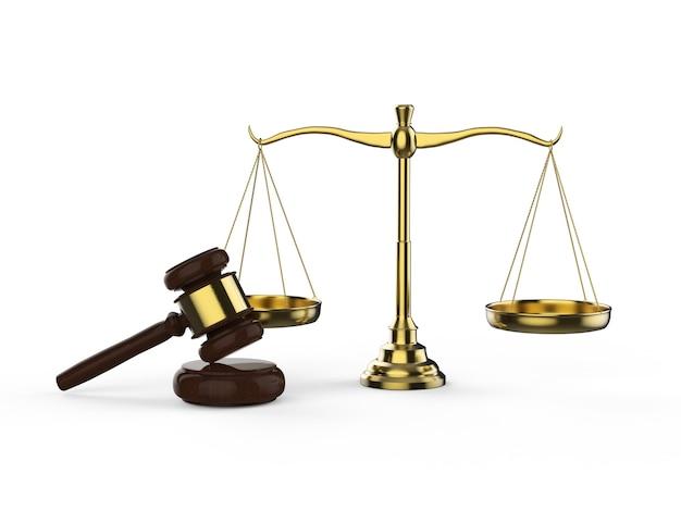 白い背景の上のガベル裁判官と3dレンダリング法スケールと法の概念