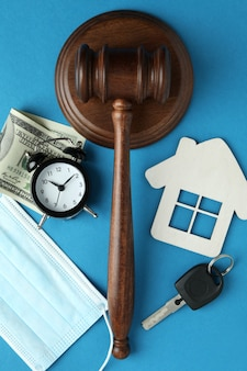 Law concept with judge gavel on blue background