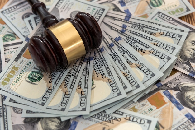 Law and justice court gavel with money