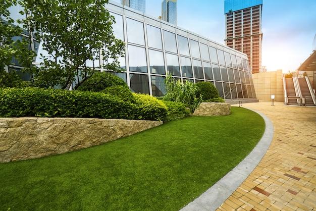Lawn of financial center, qingdao, china