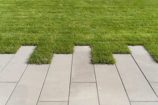 Газонная трава и тротуарная дорожка на прогулочной площадке в саду или парковое благоустройство газона и ...