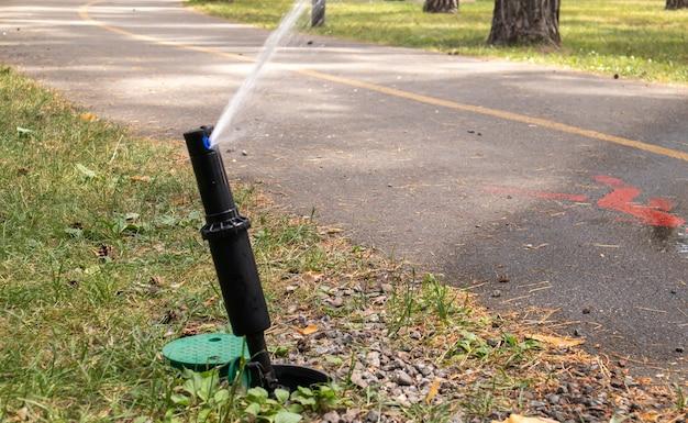 Система орошения газонов, работающая в зеленом парке. опрыскивание газона водой в жаркую погоду. автоматический ороситель. автоматическая оросительная головка для полива газона. умный сад.