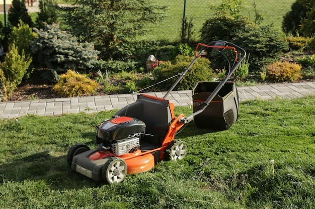 Lawn mower on backyard