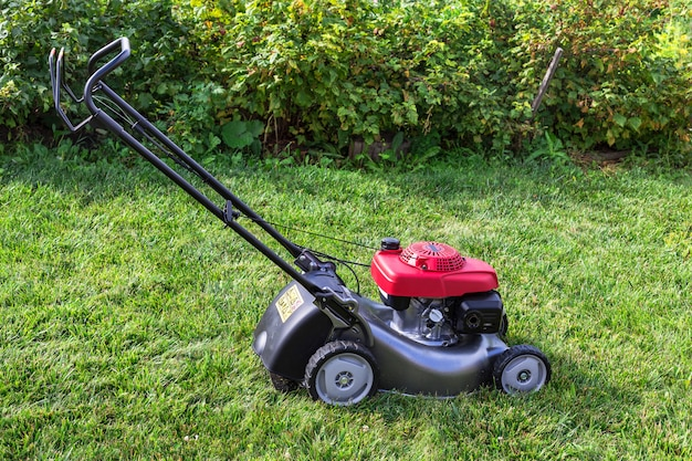 Lawn mower on the lawn.