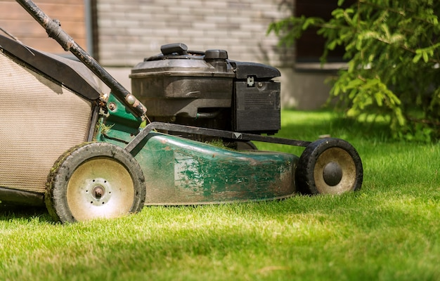 Lawn mower mows the grass on a sunny day. garden care concept. close up.