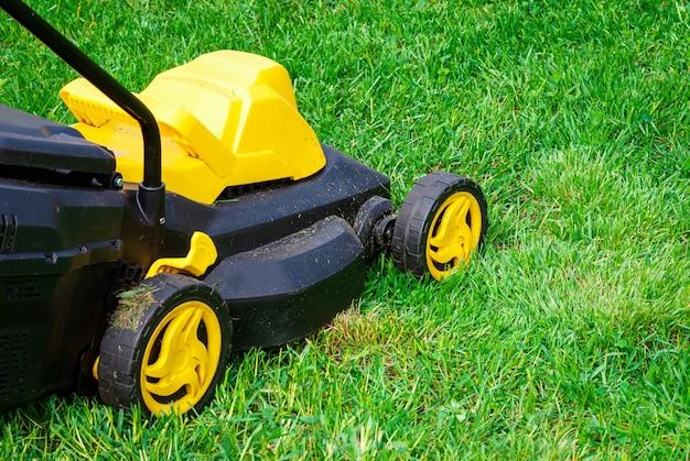 푸른 잔디에 잔디 깍는 기계
