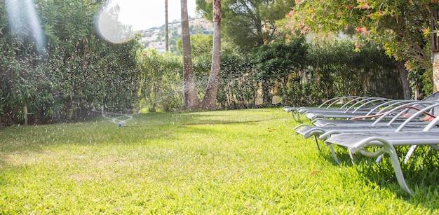 Lawn water sprinkler spraying water over lawn green fresh grass in garden