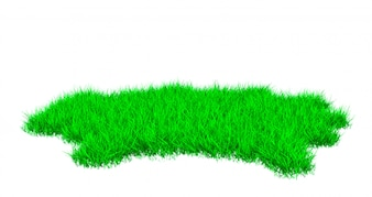 Lawn with green grass uneven edges 3D illustration