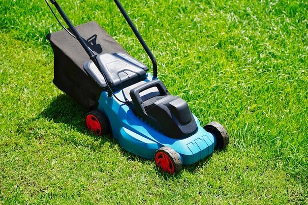 잔디 깎는 전기 기계 트리밍 푸른 잔디 잔디 절단