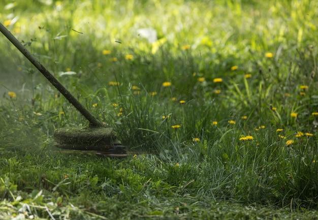 刈払機付き芝刈り機は芝生を刈り取ります
