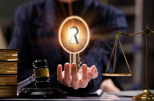 Lawyer came with idea how to solve problem on hand. concept of light bulb with key hole to unlock solution use for fairness, justice, compromise and law.