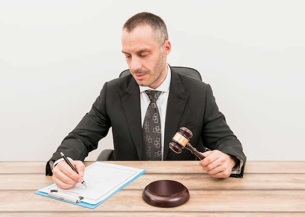 Lawyer filling document
