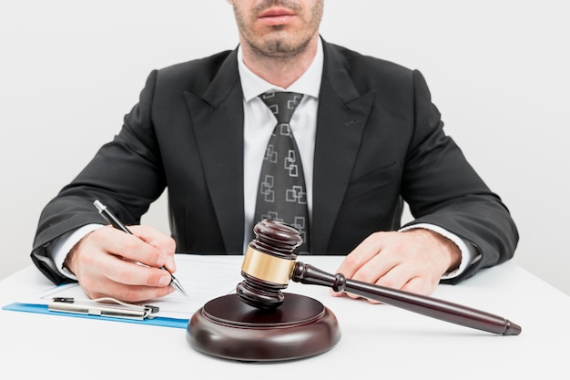 Lawyer filling documents