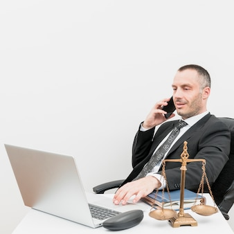 Lawyer using a laptop