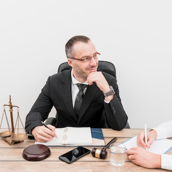 Lawyer with client