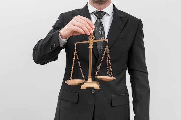 Lawyer with weighing scales