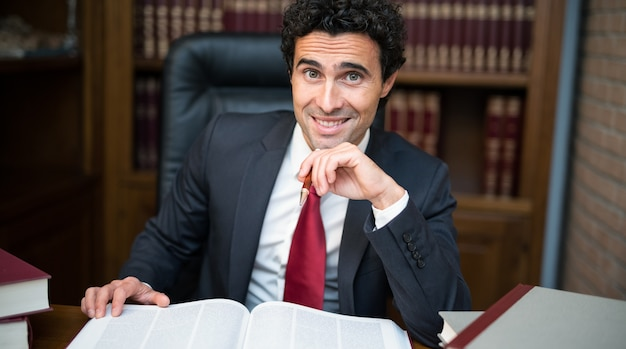 Lawyer at work in his office