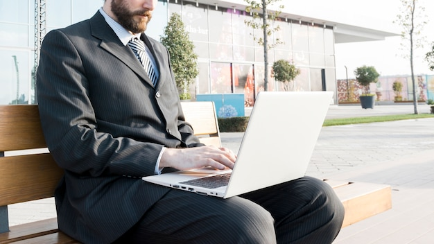 Lawyer working outdoors