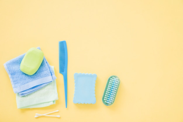 Lay out of bath supplies for body care