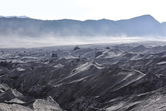 Layer Volcanic ash as sand ground of Mount Bromo volcano