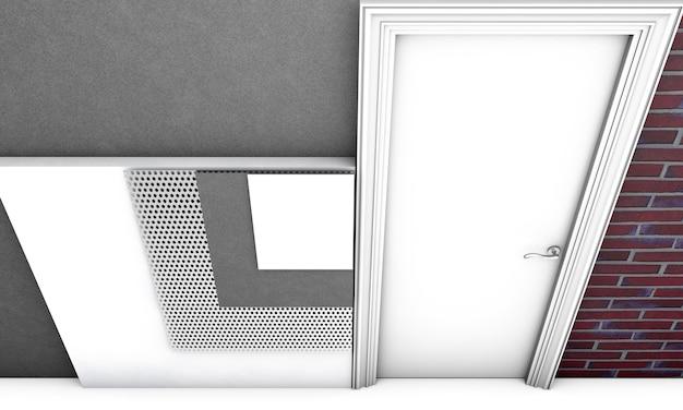 Концепция теплоизоляции многослойной кирпичной стены на белом фоне - 3d иллюстрации