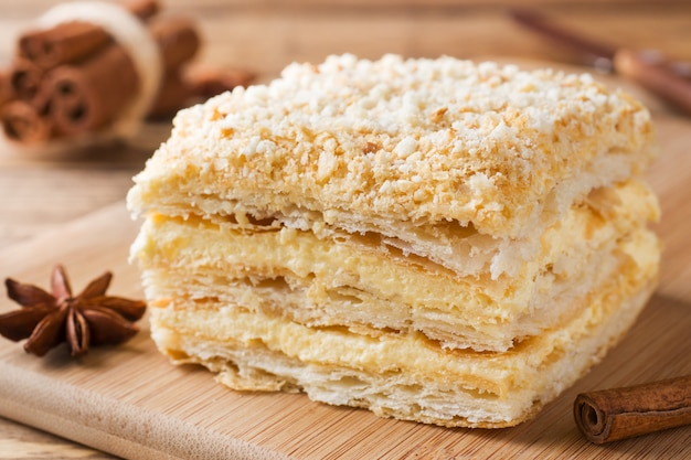 Layered cake with cream napoleon millefeuille vanilla slice