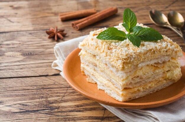 Layered cake with cream napoleon millefeuille vanilla