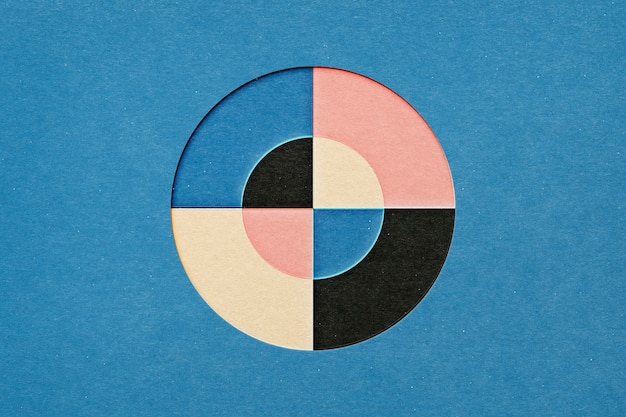 Layered circle in papercraft cut out style