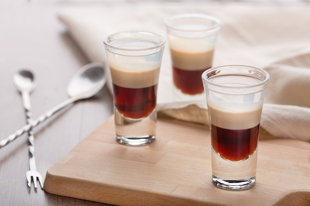 Layered cocktail of coffee liqueur
