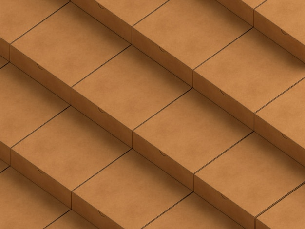 Layers of brown empty simplistic cardboard boxes