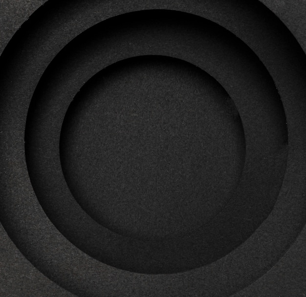 Layers of circular black background top view