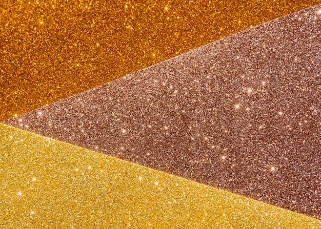 Layers of gradient gold texture top view