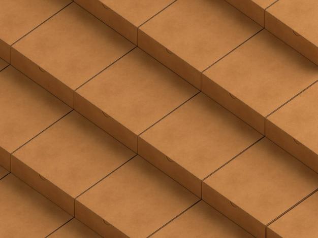 茶色の空の単純な段ボール箱の層
