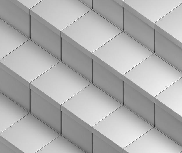 Слои белых пустых упрощенных картонных коробок