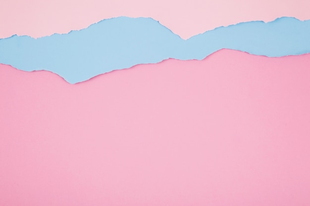 Layers of pink and blue papers