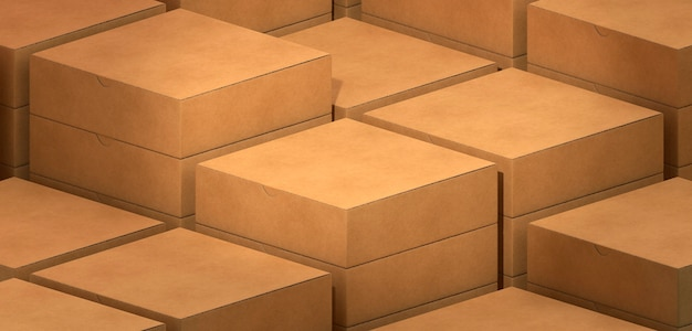 Layers of simple cardboard boxes