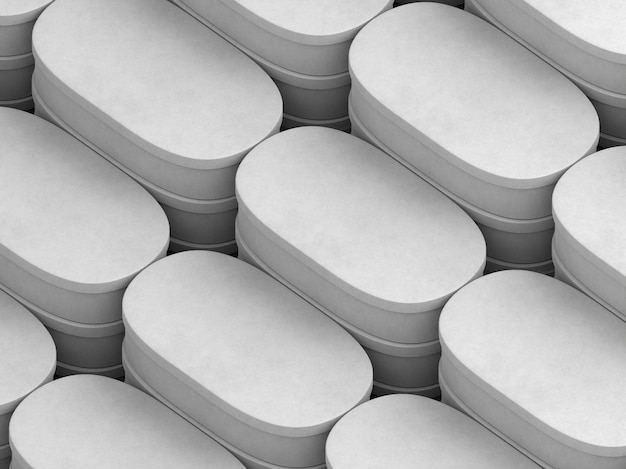 Layers of white empty oval cardboard boxes