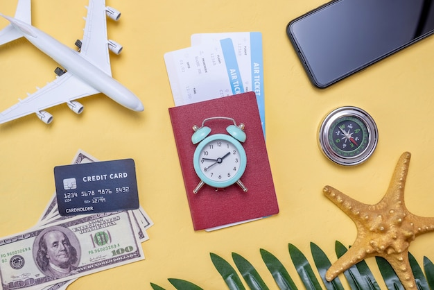 Layout of accessories for vacation and travel