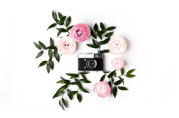 The layout of the camera on a white background