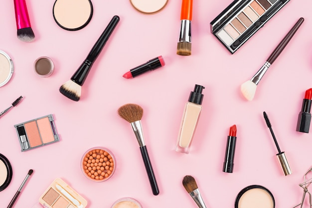 Layout of cosmetic and makeup beauty products